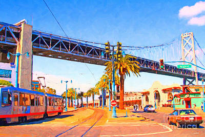 Bay Bridge Digital Art - San Francisco Embarcadero And The Bay Bridge by Wingsdomain Art and Photography