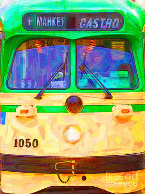 Castro District Digital Art - San Francisco F-line Streetcar Front Side by Wingsdomain Art and Photography