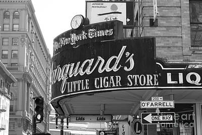 Photograph - San Francisco Marquard's Little Cigar Store Powell And O'farrell Streets - 5d17954 - Black And White by Wingsdomain Art and Photography