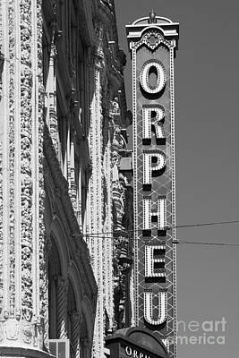 Orpheum Photograph - San Francisco Orpheum Theatre - 5d17996 - Black And White by Wingsdomain Art and Photography
