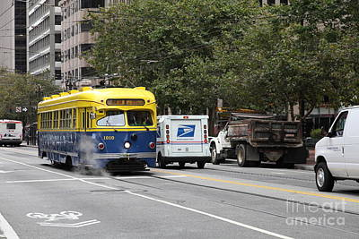 San Francisco Vintage Streetcar On Market Street - 5d17849 Art Print by Wingsdomain Art and Photography