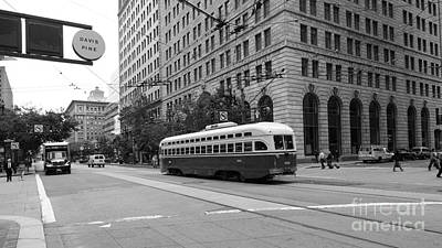 Long Sizes Photograph - San Francisco Vintage Streetcar On Market Street - 5d17862 - Black And White by Wingsdomain Art and Photography