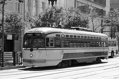 San Francisco Vintage Streetcar On Market Street - 5d17972 - Black And White Art Print by Wingsdomain Art and Photography