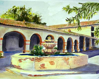 Spanish Mission Church Painting - San Miguel Mission Courtyard by Susan  Clark