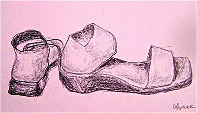 Miguel Drawings Drawing - San Miguel Sandals by Gloria Avner