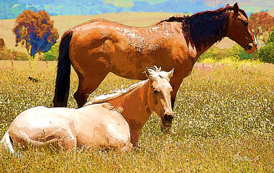 Digital Art - San Simeon Horses by Jim Pavelle