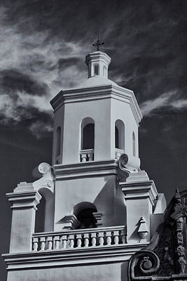 Print featuring the photograph San Xavier Tower by Tom Singleton