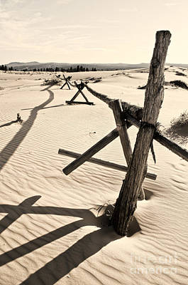 Sand And Fences Art Print by Heather Applegate