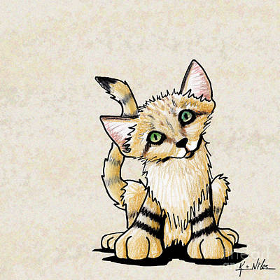 Wild Cats Drawing - Sand Cat Kitten by Kim Niles