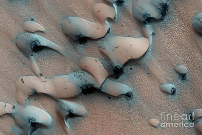 Surface Feature Photograph - Sand Dune Thawing On Mars by Nasa