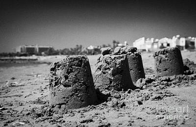 Sandcastles On Cyprus Tourist Organisation Municipal Beach In Larnaca Bay Republic Of Cyprus Europe Art Print by Joe Fox