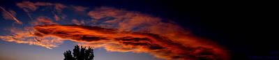 Sandia Heights Fiery Sunset Panoramic Art Print by Aaron Burrows