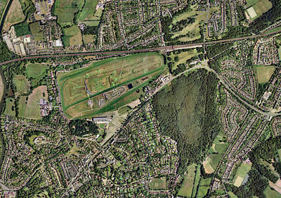 Esher Photograph - Sandown Park Racecourse, Surrey, Uk by Getmapping Plc