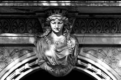 Photograph - Sandstone Woman Figure As Exterior Decoration Above An Entrance by U Schade