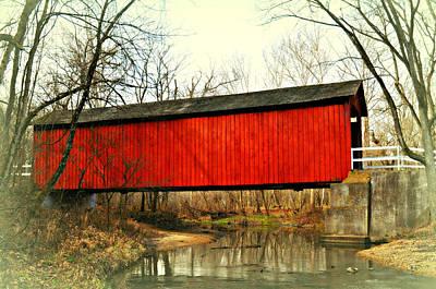 Sandy Creek Bridge In Winter Art Print by Marty Koch