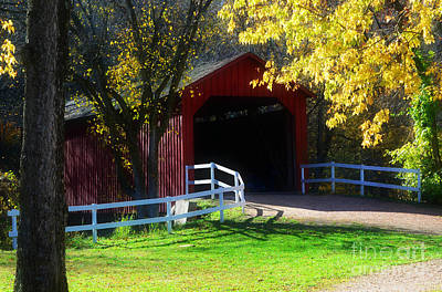 Photograph - Sandy Creek Cover Bridge Autumn  by Peggy Franz