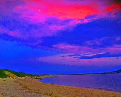 Sandy Hook Digital Art - Sandy Hook Nj Moonrise by Linnea Tober