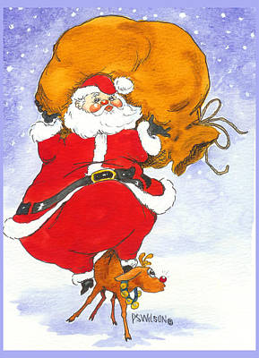 Santa And Rudolph Art Print by Peggy Wilson