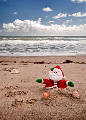 Photograph - Santa At The Beach by Steven Sparks