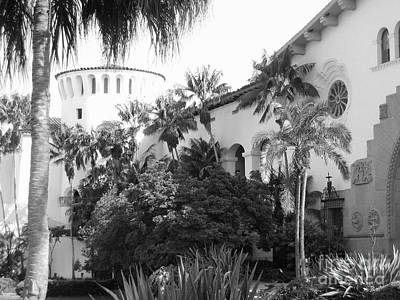 Art Print featuring the photograph Santa Barbara Courthouse by Ann Johndro-Collins