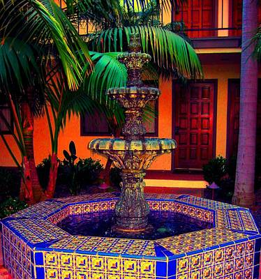 Santa Barbara Fountain Art Print by Ann Johndro-Collins