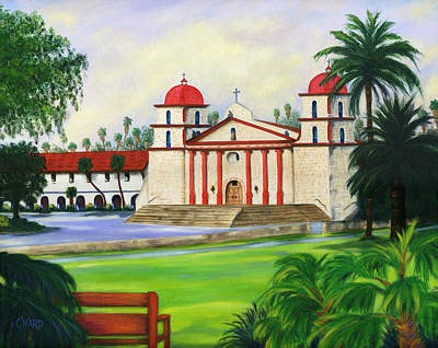 Landscape Painting - Santa Barbara Mission by Colleen Ward
