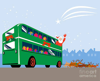 Old Man Digital Art - Santa Claus Double Decker Bus by Aloysius Patrimonio