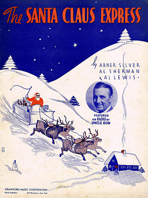 Old Sheet Music Photograph - Santa Claus Express by Mel Thompson