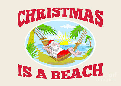 Santa Claus Father Christmas Beach Relaxing Art Print by Aloysius Patrimonio