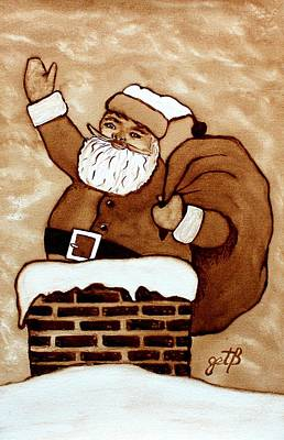 Santa Claus Gifts Original Coffee Painting Art Print by Georgeta  Blanaru