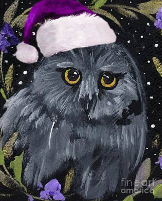 Santa Claus Painting - Santa Claus Owl by Sylvia Pimental