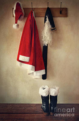 Santa Costume With Boots On Coathook Art Print by Sandra Cunningham