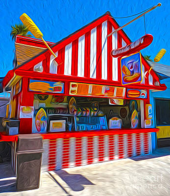 Santa Cruz Boardwalk - Hot Dog Stand Art Print by Gregory Dyer