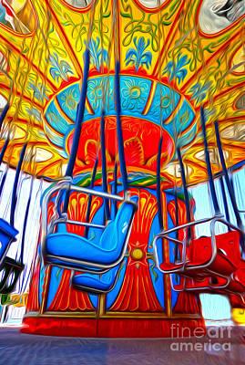 Santa Cruz Boardwalk - Tilt-a-whirl - 02 Art Print by Gregory Dyer