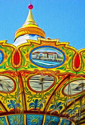 Santa Cruz Boardwalk - Tilt-a-whirl - 03 Art Print by Gregory Dyer