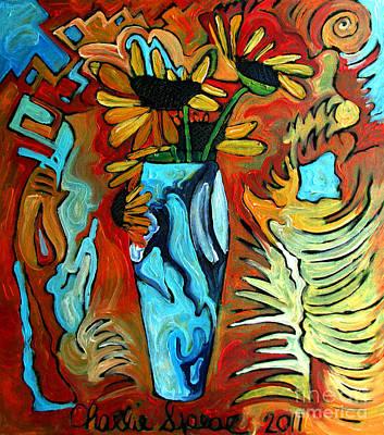 Ceramic Vases Painting - Santa Fe Sunflowers by Charlie Spear
