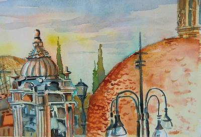 Rooftops Mixed Media - Santa Maria Del Populo Rooftops by Mindy Newman
