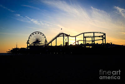 Roller Coaster Photograph - Santa Monica Pier Sunset Photo by Paul Velgos