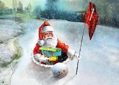 Art Miki Digital Art - Santas Hole In One by Miki De Goodaboom