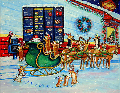 Santa's Pit Stop On  December 24th Art Print by Lyn Cook