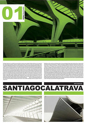 Linear Digital Art - Santiago Calatrava Poster by Naxart Studio