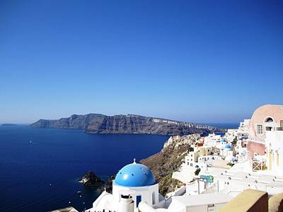 Photograph - Santorini Blue Dome Greek Isle Greece by John Shiron