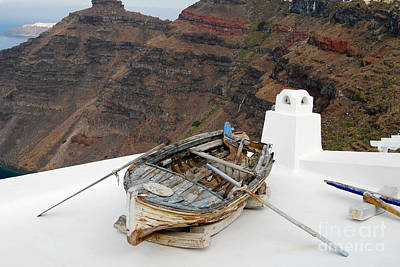 Photograph - Santorini Greece Boat On Roof by Eva Kaufman