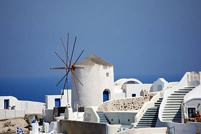 Photograph - Santorini Island Windmill by Harvey Barrison