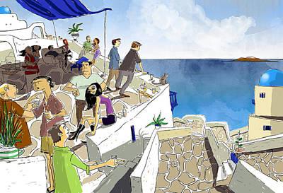 Santorini Rooftop  Art Print