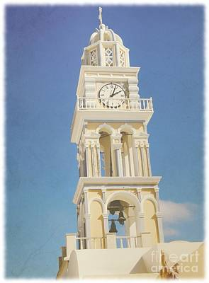 Antique Look Photograph - Santorini Yellow Church  by Sophie Vigneault