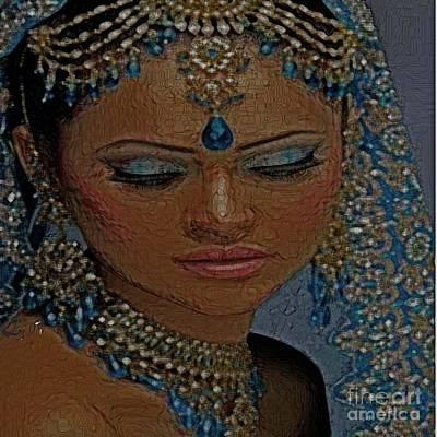 Saphire Goddess Art Print by Liz Loz