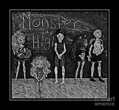 Gorgon Digital Art - Sarah's Monster High Collection Black And White Sketch by Barbara Griffin