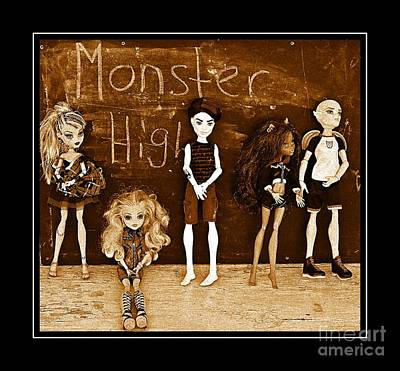 Gorgon Digital Art - Sarah's Monster High Collection Sepia by Barbara Griffin