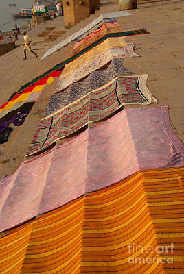 Cremation Ghat Photograph - Saris Drying On The Steps by Serena Bowles